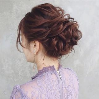 セミロング ガーリー ヘアアレンジ 大人かわいい ヘアスタイルや髪型の写真・画像