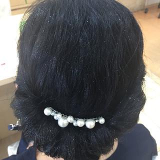 上品 結婚式 ヘアアレンジ セミロング ヘアスタイルや髪型の写真・画像