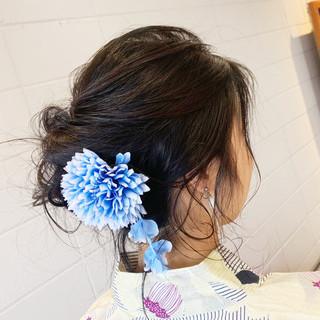 ヘアアレンジ 黒髪 デート エレガント ヘアスタイルや髪型の写真・画像