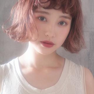ヘアアレンジ ボブ ナチュラル ラベンダーピンク ヘアスタイルや髪型の写真・画像