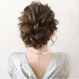 セミロング 結婚式 大人かわいい ヘアアレンジ ヘアスタイルや髪型の写真・画像