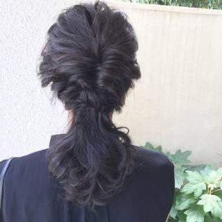 波ウェーブ 編み込み 黒髪 ガーリー ヘアスタイルや髪型の写真・画像