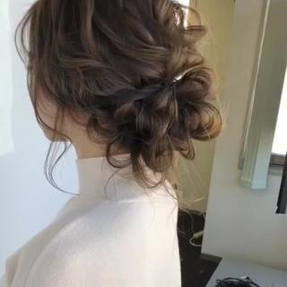 セミロング フェミニン 結婚式髪型 ヘアアレンジ ヘアスタイルや髪型の写真・画像