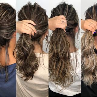 ストリート セミロング グレージュ ハイライト ヘアスタイルや髪型の写真・画像