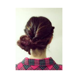 ヘアアレンジ 三つ編み くるりんぱ 簡単ヘアアレンジ ヘアスタイルや髪型の写真・画像
