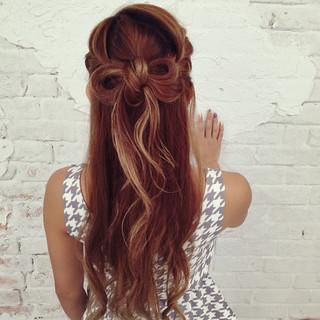 外国人風 編み込み ヘアアレンジ ロング ヘアスタイルや髪型の写真・画像