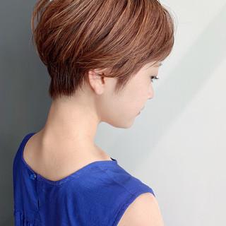 ミニボブ マッシュショート ショートボブ ナチュラル ヘアスタイルや髪型の写真・画像