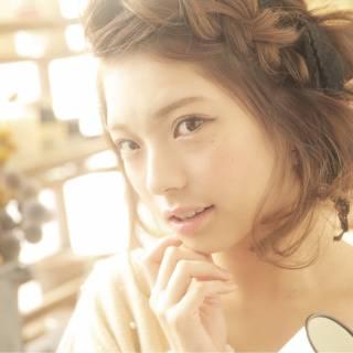 アップスタイル ナチュラル ショート ヘアアレンジ ヘアスタイルや髪型の写真・画像
