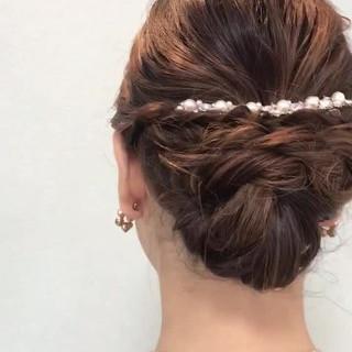 セミロング 成人式 ヘアアレンジ エレガント ヘアスタイルや髪型の写真・画像