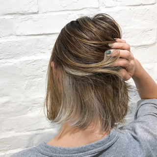 ナチュラル ボブ インナーカラー ショートボブ ヘアスタイルや髪型の写真・画像 ヘアスタイルや髪型の写真・画像