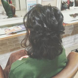 ハーフアップ 簡単ヘアアレンジ ショート ゆるふわ ヘアスタイルや髪型の写真・画像