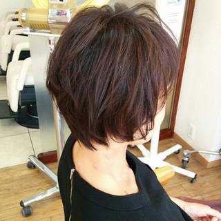 コンサバ ショート 暗髪 ゆるふわ ヘアスタイルや髪型の写真・画像