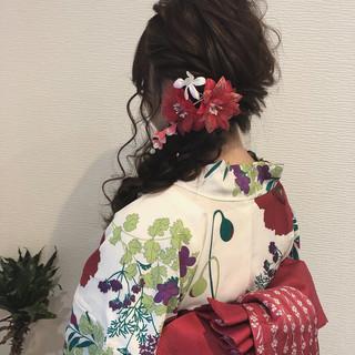 フェミニン 編みおろし 浴衣アレンジ ロング ヘアスタイルや髪型の写真・画像