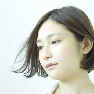 フェミニン ボブ ナチュラル ショート ヘアスタイルや髪型の写真・画像