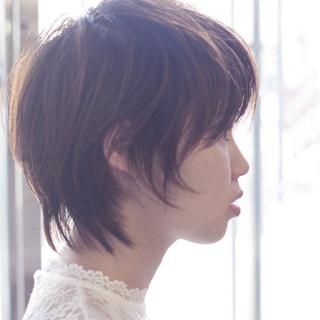 ショート 透明感 ショートボブ ナチュラル ヘアスタイルや髪型の写真・画像