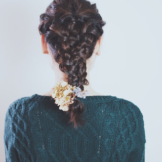 外国人風 結婚式 ヘアアレンジ 編み込み ヘアスタイルや髪型の写真・画像