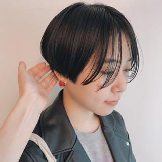 ナチュラル マッシュショート ショート 黒髪 ヘアスタイルや髪型の写真・画像