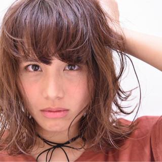 フェミニン ゆるふわ パーマ ミディアム ヘアスタイルや髪型の写真・画像