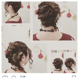 ボブ 結婚式 編み込み ミディアム ヘアスタイルや髪型の写真・画像