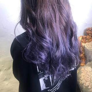 ターコイズブルー ブルーラベンダー ネイビーブルー ブルーグラデーション ヘアスタイルや髪型の写真・画像
