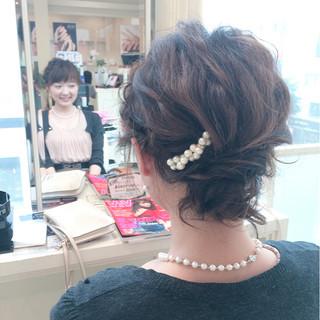 ミディアム 編み込み 結婚式 パーティ ヘアスタイルや髪型の写真・画像