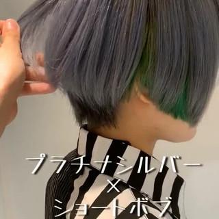 ボブ ショート モード シルバー ヘアスタイルや髪型の写真・画像
