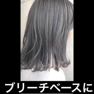 グレーアッシュ グラデーションカラー ナチュラル ミディアム ヘアスタイルや髪型の写真・画像