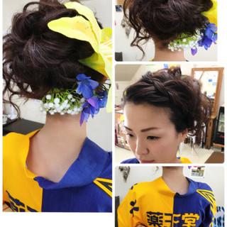 ガーリー 前髪なし ヘアアレンジ ロング ヘアスタイルや髪型の写真・画像