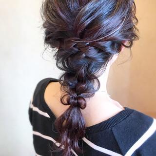 編みおろし 大人女子 ロング エレガント ヘアスタイルや髪型の写真・画像