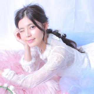 編みおろしヘア 結婚式ヘアアレンジ 大人かわいい フェミニン ヘアスタイルや髪型の写真・画像