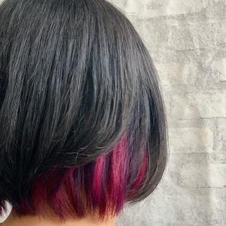 ピンクパープル ピンク インナーピンク ガーリー ヘアスタイルや髪型の写真・画像