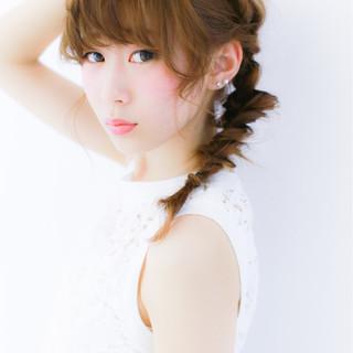 編み込み セミロング 簡単ヘアアレンジ ショート ヘアスタイルや髪型の写真・画像 ヘアスタイルや髪型の写真・画像