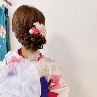 ロング 浴衣アレンジ アップスタイル エレガント ヘアスタイルや髪型の写真・画像