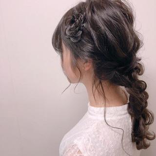 デート ヘアアレンジ 黒髪 編みおろし ヘアスタイルや髪型の写真・画像