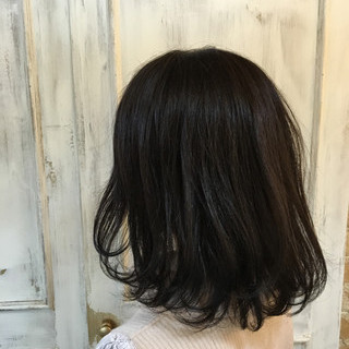 ワンカール イルミナカラー フェミニン 黒髪 ヘアスタイルや髪型の写真・画像