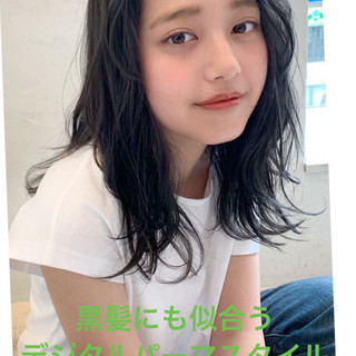 デジタルパーマ ミディアム パーマ 小顔ヘア ヘアスタイルや髪型の写真・画像