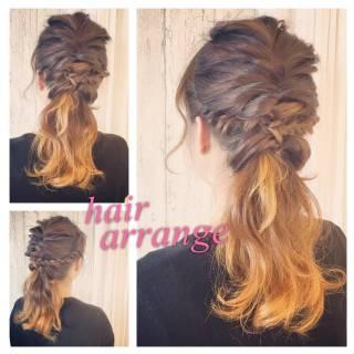 フィッシュボーン ガーリー ポニーテール ヘアアレンジ ヘアスタイルや髪型の写真・画像 ヘアスタイルや髪型の写真・画像