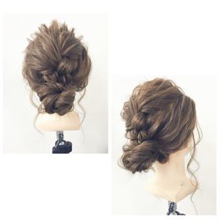 簡単ヘアアレンジ 三つ編み シニヨン ヘアアレンジ ヘアスタイルや髪型の写真・画像 ヘアスタイルや髪型の写真・画像