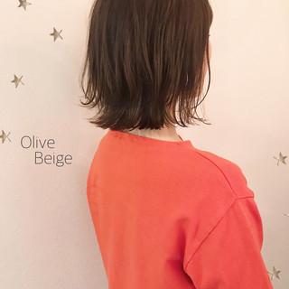 ワンカール 切りっぱなし ミディアム ミディアムレイヤー ヘアスタイルや髪型の写真・画像