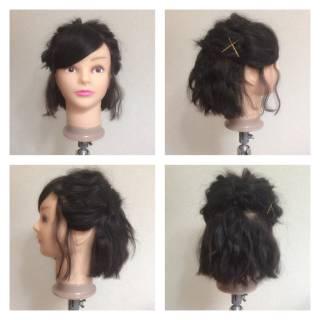 ねじり ゆるふわ 編み込み ナチュラル ヘアスタイルや髪型の写真・画像
