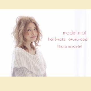 セミロング グラデーションカラー モテ髪 フェミニン ヘアスタイルや髪型の写真・画像