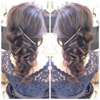 ナチュラル 結婚式 セミロング 簡単ヘアアレンジ ヘアスタイルや髪型の写真・画像 ヘアスタイルや髪型の写真・画像