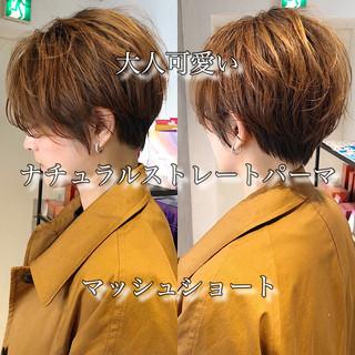 オフィス 縮毛矯正 ショートボブ ストレート ヘアスタイルや髪型の写真・画像