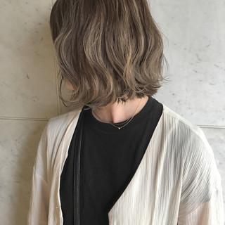 アンニュイ 秋 ボブ ハイライト ヘアスタイルや髪型の写真・画像