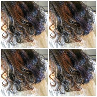 外国人風カラー セミロング インナーカラー フェミニン ヘアスタイルや髪型の写真・画像 ヘアスタイルや髪型の写真・画像