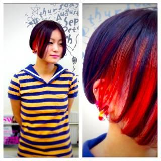 ストレート 秋 グラデーションカラー ストリート ヘアスタイルや髪型の写真・画像