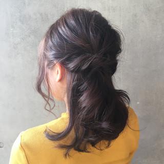 オフィス 簡単ヘアアレンジ デート ロング ヘアスタイルや髪型の写真・画像