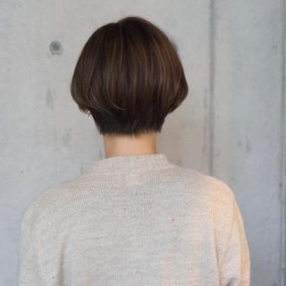ショコラブラウン ナチュラル ショートボブ ショート ヘアスタイルや髪型の写真・画像