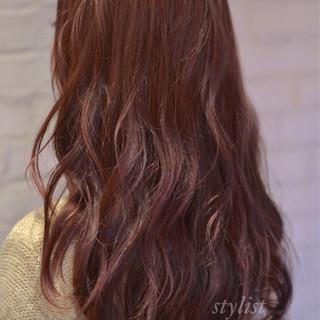 大人かわいい ロング ピンク ナチュラル ヘアスタイルや髪型の写真・画像