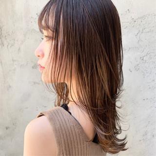 ナチュラル 前髪あり 前髪なし セミロング ヘアスタイルや髪型の写真・画像